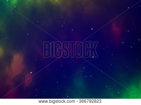 Infinity Of Universe Space Nebula. Dark Night Sky. Space With Shiny Stars. Vector