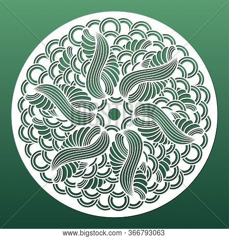 Laser Cut Mandala For Wall Art Panel Or Coaster. Cnc Cutting Template, Metal Or Wood Carving, Paper