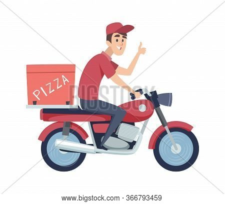 Delivery Boy On Motorcycle. Man Ride On Scooter. Isolated Flat Man Delivers Pizza Vector Illustratio