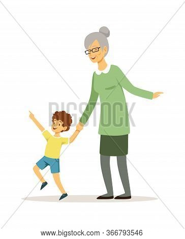 Grandmother And Grandson. Happy Family Walking, Baby Boy And Elderly Woman. Smiling Child With Woman