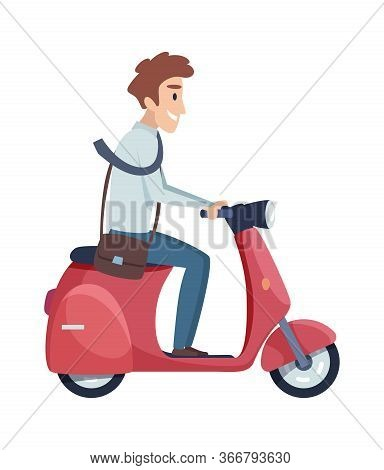 Man Rides Motorbike. Happy Businessman Drives To Work. Flat Isolated Male Manager On Scooter Vector