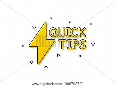 Helpful Tricks Sign. Quick Tips Icon. Tutorials With Lightning Or Energy Symbol. Yellow Circles Patt