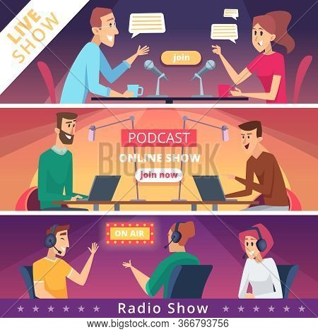 Radio Show Banners. Audio Radio Music Microphones And Headset Live Speakers Vector Illustrations. Ra