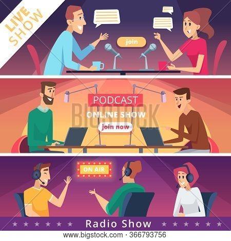 Radio Show Banners. Audio Radio Music Microphones And Headset Live Speakers Vector Illustrations. Ra