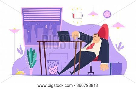 Burnout Character In Office. Lazy Tired Managers Young Entrepreneur Depression People Bad Atmosphere