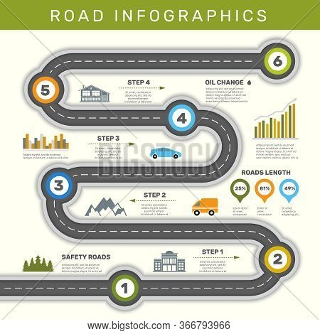 Road Infographic. Timeline With Point Map Business Workflow Graphic Vector Template. Illustration In