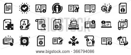Set Of Instruction, Plan And Manual Icons. Technical Document Icons. Help Document, Building Plan An