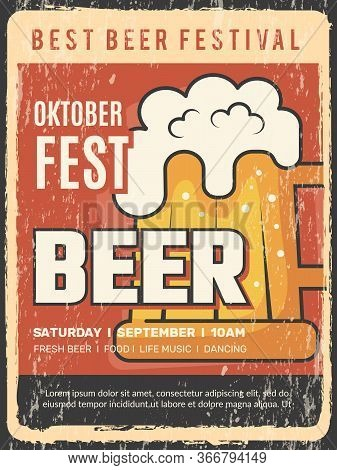 Oktoberfest Placard. Traditional Alcoholic Event Beer Festival Vector Restaurant Frame Vintage Poste