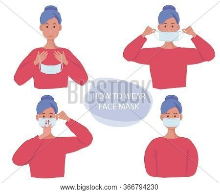Protective Mask. Human Gestures How Wear Flu Mask On Face Health Infection Protection Vector Concept