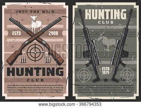 Gun Shop, Vector Rifles And Guns With Sniper Scope, Ammunition Store. Vintage Posters With Hunting E