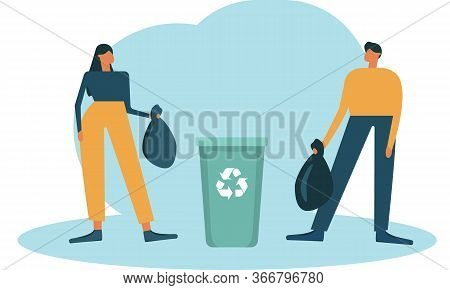 Man And Woman Sort The Garbage, Throw The Sorted Garbage Into The Trash Container. Vector Flat Illus