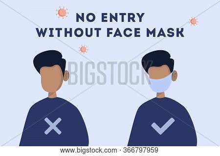 No Entry Without Face Mask Or Wear A Mask Icon. Vector Flat Illustration.  Concept. Man