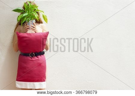 A Woman In A Red Pillow Dress Without Face With Green Plant On White Eall Background. Dress The Pill