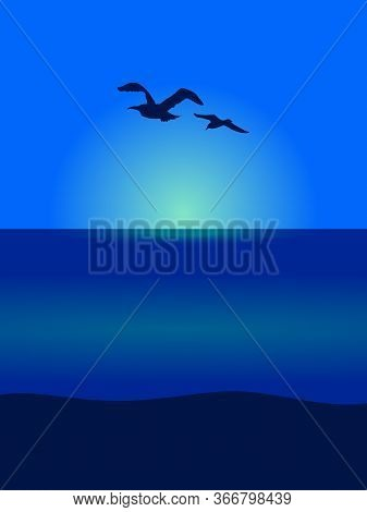 Portrait Ocean Sea View With Flying Seagull Silhouettes Over Sunset Or Sunrise Background