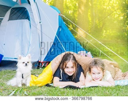 Camp In Tent With Children - Girls Sisters With Little Dog Chihuahua Sitting Together Near Tent. Tra
