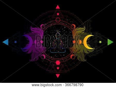 Buddha Silhouette In Lotus Position Over Ornate Mandala Lotus Flower And Moon Phases Sacred Geometry