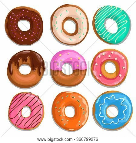 Set Of Cartoon Donuts. Top View. Comic Style. Different Types, Glazed, With Sprinkes, Iced And Choco