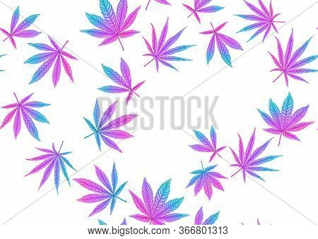 Cannabis Leaves Seamless Pattern, Background. Vector Illustration In Neon, Fluorescent Colors.