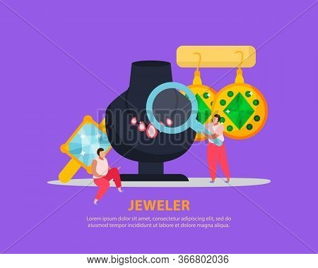 Jewelry Flat Background With Editable Text And Doodle Human Characters With Hand Lens And Luxury Jew