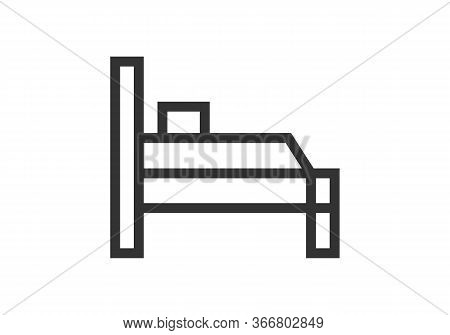 Bed Icon Vector From Bed And Breakfast Collection. Thin Line Bed Outline Icon Vector Illustration