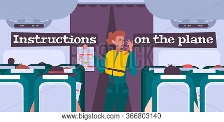 Airplane Briefing Flat Background With Female Flight Attendant Giving Safety Rules Instructions To P