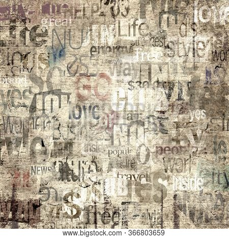 Old Newspaper Paper Grunge With Letters, Words Texture Background. Blurred Vintage Newspapers Textur