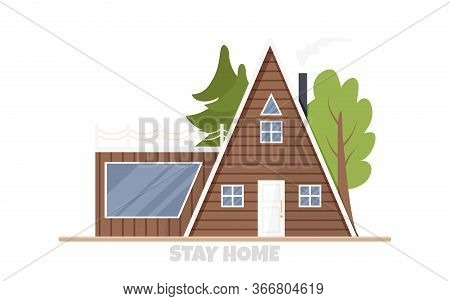 Vector Illustration Of Eco-house In Flat Style. Architecture Concept In Rustic Style. Cartoon Design
