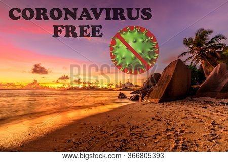 Coronavirus Free Beach Concept: Anse Source Dargent Beach At Sunset In Seychelles, La Digue. Seychel