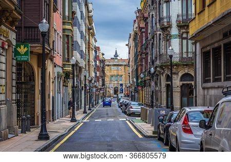 Gijon, Spain - January 25, 2019: Caja Rural De Gijon Bank In Historic Part Of Gijon City In Northwes