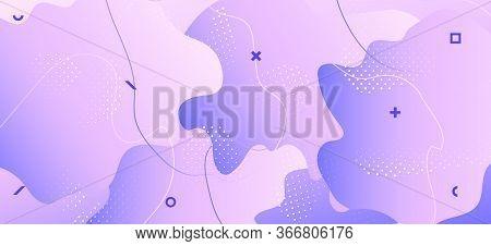 Pastel Purple Brochure. Gradient Geometric Design. Flow Layout. Contemporary Illustration. Violet Tr