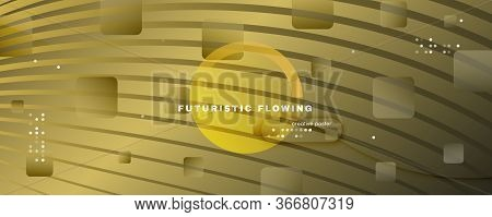 Abstract Vector Curve. Yellow Gradient Movement. 3d Fluid Shape. Minimal Banner. Golden Abstract Vec