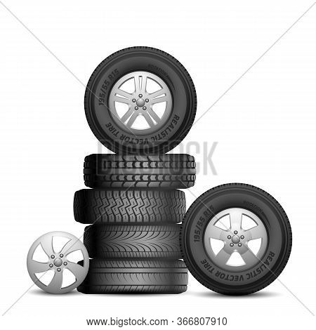 Rubber Tires. Isolated Realistic Car Wheels. Aito Service, Tire Repair. Black Wheel Rim Vector Illus