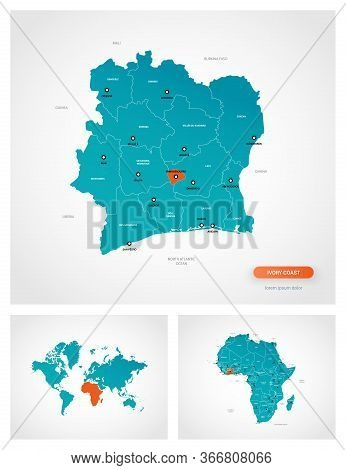 Editable Template Of Map Of Ivory Coast With Marks. Ivory Coast  On World Map And On Africa Map.