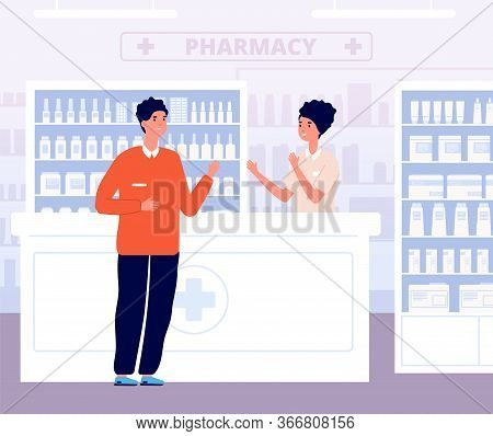 Pharmacist And Patient. Drugs Consultation, Male In Drugstore Interior. Health Consultant Nurse And