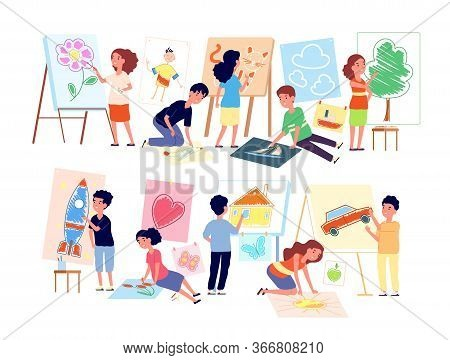 Kids Drawing Pictures. Children Playing Craft, Boy Creating Art. Flat Child In Kindergarten Preschoo