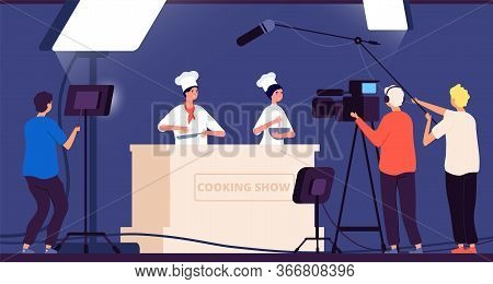 Cooking Show. Chef Live Tv Entertainment. People In Uniform Cook On Kitchen. Flat Shooting With Spot