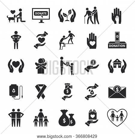 Charity Icons. Volunteer Helping, World Social Communities Symbols. Donation Service Or Child Suppor