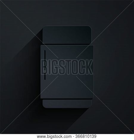 Paper Cut Eraser Or Rubber Icon Isolated On Black Background. Paper Art Style. Vector