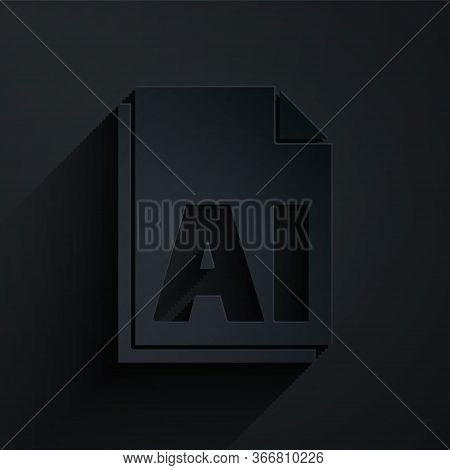 Paper Cut Ai File Document. Download Ai Button Icon Isolated On Black Background. Ai File Symbol. Pa