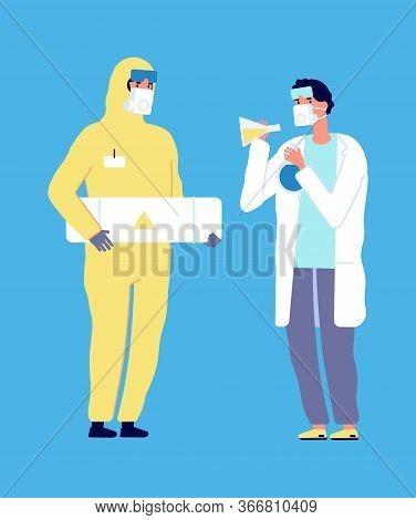 Epidemiologist And Scientist. Virus Research, Chemical Laboratory Flat Characters. Man In Protective