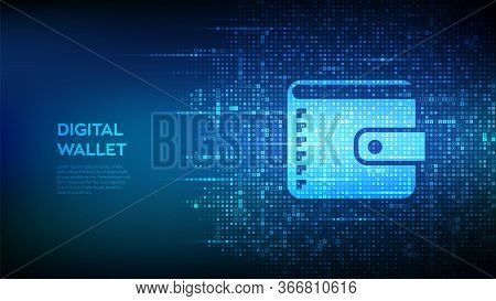 Digital Wallet. Wallet Icon Made With Currency Symbols. Mobile Banking, Online Finance, E-commerce B