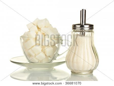 refined sugar in glass cup with sugar bowl isolated on white background