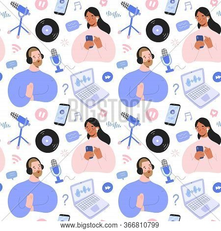 Podcast Pattern, Hand Drawn Collage Illustration With Podcast Hosts And Listeners With Blogging And