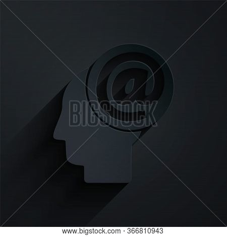 Paper Cut Mail And E-mail Icon Isolated On Black Background. Envelope Symbol E-mail. Email Message S