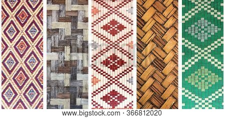 Set of vertical or horizontal banners with sisal mat patterns with traditional asian geometric patterns. Collection of jute textures of green, red, brown and beige colors
