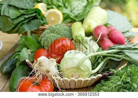 Healthy Fresh Organic Vegetable In Wicker Basket On Table
