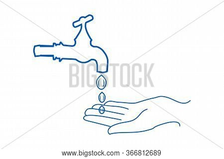 Washing Hands Outline Icon. Hands Washing Under Faucet. Hand Wash Flat Simple Sign. Washing Hands Fo