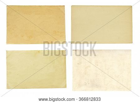 Set of various retro paper sheets. Collection of old used paper cards. Isolated on white background