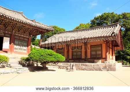 Pavilions in ancient Buddhist temple Woljeong (Woljeong-sa, Voljong) on Kuvor mount, Kumgangsan mountains (Diamond mountains), North Korea (DPRK)