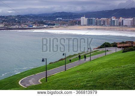 Gijon, Spain - January 25, 2019: San Lorenzo Beach Seen From Santa Catalina Headland In Gijon City,